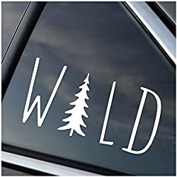 Wild Hiking Camping Adventure Vinyl Car Window Decal Sticker White