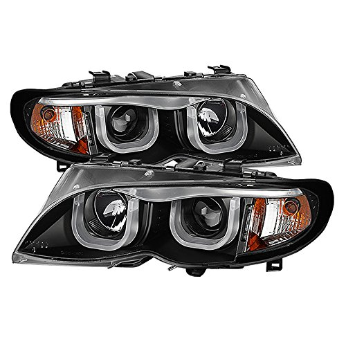 (Carpart4u-Projector Headlights For 2002-05 BMW E46 3-Series 4DR 1PC - 3D Halo - Black Housing With Clear Lens)