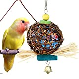MAIYUAN Bird Chewing Toys for Parrots Natural Rattan Ball Cage Toy Preening Toy for Bird Parrot African Greys Budgie Cockatiel Parakeet Lovebird Cage Toy Larger Image