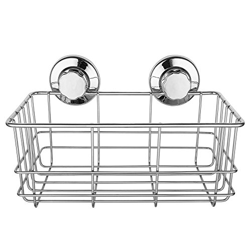 SANNO Bathroom Shower Caddy, Deep Basket Shelf Suction Cups,Bath Organizer Kitchen Storage Basket Gel Holder Bathroom Storage Shampoo, Conditioner - Stainless ()