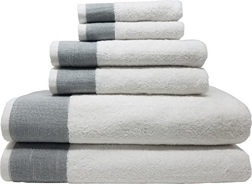 LUNASIDUS Venice, Luxury Hotel & Spa Premium 6 Piece 100% Turkish Cotton, Towel Sets, White Towel with Silver Stripe by LUNASIDUS