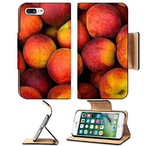 Peach Mop (Luxlady Premium Apple iPhone 7 Plus Flip Pu Leather Wallet Case iPhone 7 Plus 20321917 Peaches on a weekly street market stall)