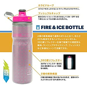 Nathan Fire and Ice Bottle, Hiviz Pink, 20-Ounce