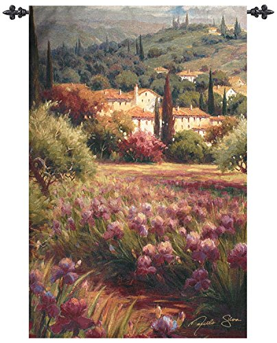 "UPC 762152133325, Purple Spring Iris Flower Fields Cotton Wall Art Hanging Tapestry 70"" x 47"""