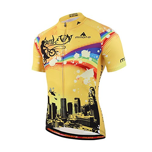 (Uriah Men's Cycling Jersey Short Sleeve Reflective Rainbow City Size)