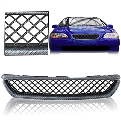 1998 2000 Honda Accord 2DR Coupe Front Mesh Grill Carbon Style