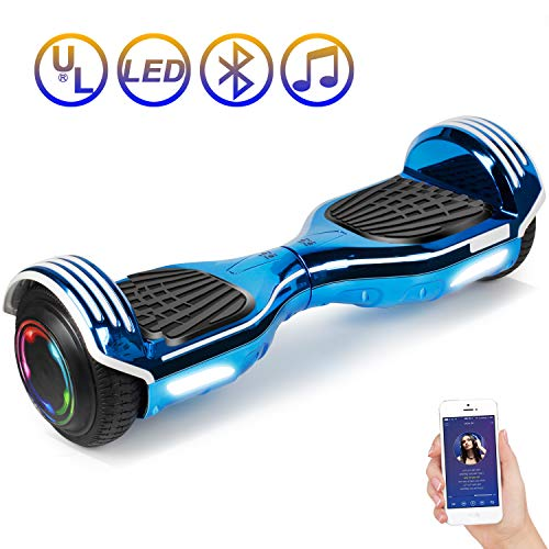SISIGAD Hoverboard Self Balancing Scooter 6.5' Two-Wheel Self Balancing Hoverboard with Bluetooth Speaker and LED Lights Electric Scooter for Adult Kids Gift UL 2272 Certified - Plating Dazzle Series