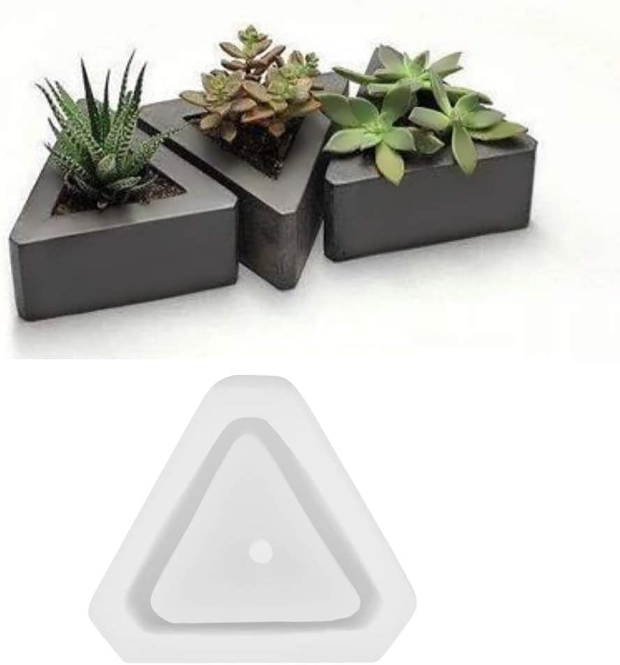 Polygonal Flower Pot Silicone Mold DIY Ceramic Clay Craft Casting Concrete Molds Succulent Plant Pot Mold Triangle