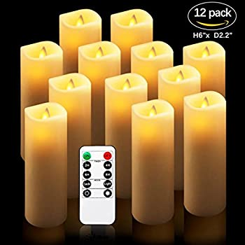 "Comenzar Flameless Candles, Battery Operated 6"" Candles Set Of 12(d2.2 X H6 Pillar Real Wax Led Candles With Remote Timer By (Ivory) 7"
