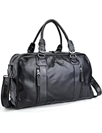 Tiding Men's Nappa Leather Messenger Weekend Travel Luggage Duffle Gym Bag
