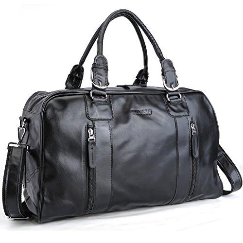 Tiding Nappa Leather Duffel Travel Gym Bag Weekender Tote Ov