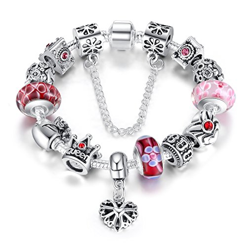 Presentski Fashion Charm Bracelet for Teen Girls and Women with Queen Crown Beads 7.9 Inches