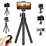 Flexible Cell Phone Tripod, Potok 12 Inches Mini Tripod Stand Adjustable Camera St