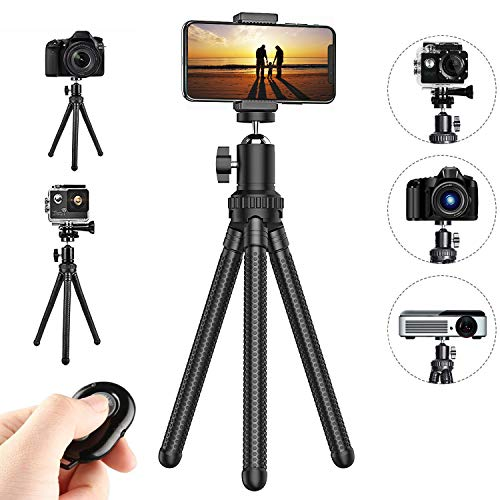 Flexible Cell Phone Tripod, Potok 12 Inches Mini Tripod Stand Adjustable Camera Stand Holder with Wireless Remote Control for GoPro/Action Cam/DSLR Canon Nikon Sony, Compatible with iPhone, Android Ph