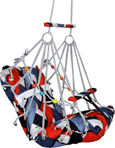 CAZZARO 1-5 Years Cotton Swing Chair for Kids Baby's Children Folding and Washable with Safety Belt – Home,Garden Jhula…