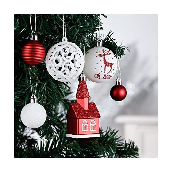 Victor's Workshop Addobbi Natalizi 100 Pezzi di Palline di Natale, Oh Cervo Rosso e Bianco Infrangibile Ornamenti di Palla di Natale Decorazione per la Decorazione Dell'Albero di Natale 4 spesavip