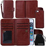 iPhone SE Case, DRUnKQUEEn Card Holder iPhone 5S 5 Case Wallet Leather Flip Case - Detachable Magnetic Hard Back Cover with Lanyard Wrist Strap for iPhoneSE iPhone5s - Brown