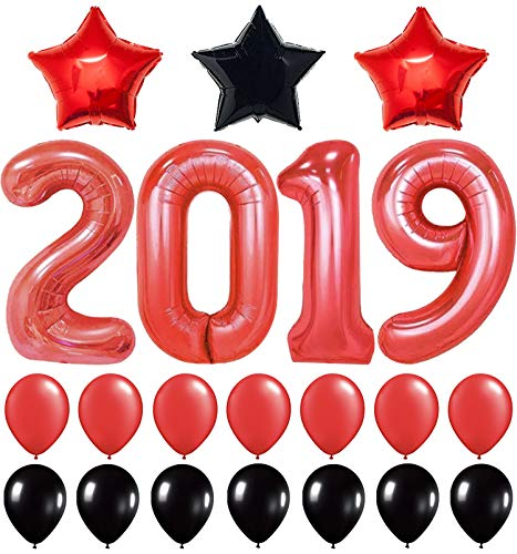 KatchOn 2019 Balloons Red, Graduations Decorations  Large, Pack of 28 | Red and Black Star Mylar foil Latex Ballon | Great for Back to School, Grad Party Backdrop, Any Occasion | Home Office Dcor