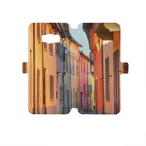 (Premium PU Leather Magnetic Flip Folio Protective Sleeve for Samsung Galaxy S8,Italy,Narrow Paves Street Among Old Houses in Town Serralunga DAlba Piedmont Decorative,Pale Orange Brown Pink)