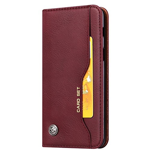 Funda para Moto G6 Plus, SunFay Premium Cuero PU Cover Magnético Flip Folio Ranura para Tarjetas Protective Billetera Funda Case con Stand Función para Moto G6 Plus - Rojo Borgoña Rojo