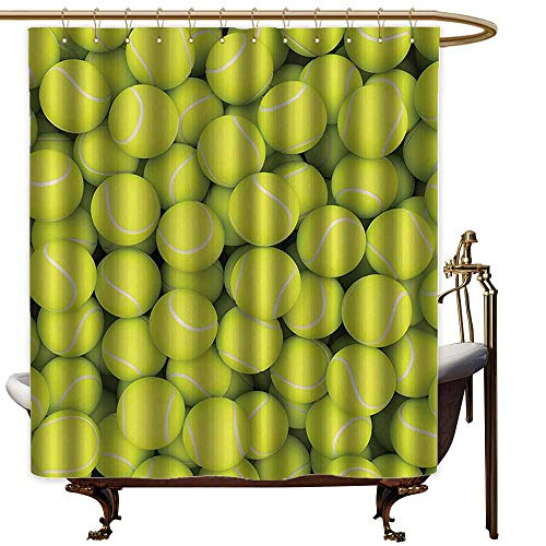 (shower curtains turtle Sports Decor Collection,Heap of Tennis Balls Hobby Happiness Leisure Competitive Match Lifestyle Picture Pattern,Yellowgreen,W65