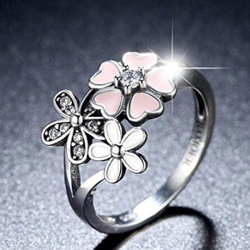 Women's Ring,Vibola cubic hollow Cherry blossoms diamond ring Couple Gift (Sliver, 8)