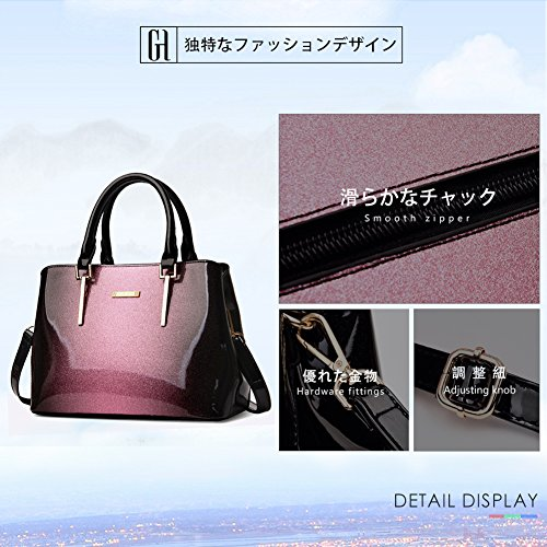 Patent Handle Handbags Shoulder Stylish G Bags Top AVERIL Purple Ladies Bags Women Grey Leather Bags xnRnZ0q