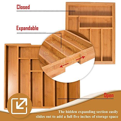 Utensil Drawer Organizer, Bamboo Silverware Organizer Expandable Kitchen Drawer Organizer Cutlery Tray. By: Bambüsi by Bambüsi (Image #5)