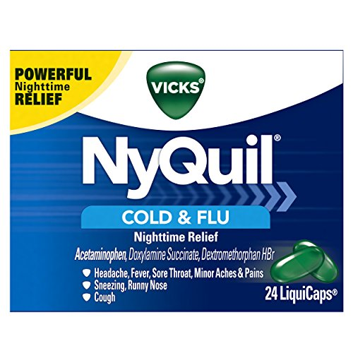 Vicks NyQuil Cough Cold and Flu Nighttime Relief, 24 (Childrens Nyquil)