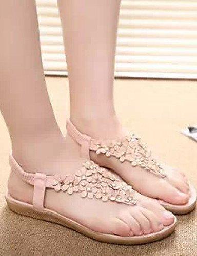 Blanc Casual Chaussures Sandales Noir Faux Extérieur Beige Flip Robe Plat Femmes Cuir Flops Shangyi Rouge Talon rrxCPqH6w