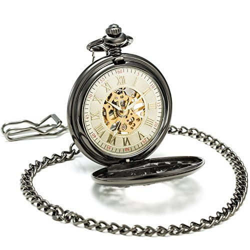 SEWOR Grace Koi Skeleton Pocket Watch Black Mechanical Hand Wind with Leather Gift Box (Black) by SEWOR (Image #2)'