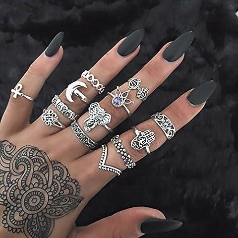 Setita 13 Pieces Turkish Elephant Moon Turquoise Joint Knuckle Nail Midi Ring Set Boho Ring Set (Ancient (Boho Rings Silver)