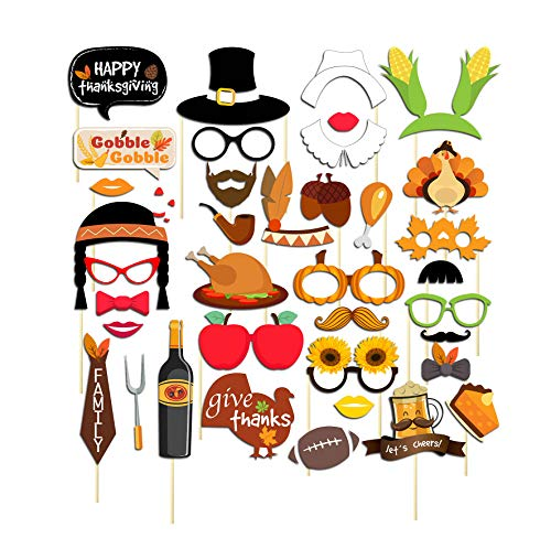Thanksgiving Photo Booth Props Kit, 37 Pcs Happy Thanksgiving Day Pose Sign Kit for Fall Autumn Harvest Turkey Party Supplies Decorations