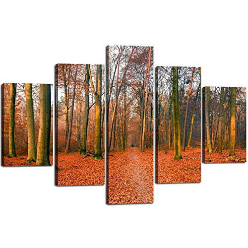 Extra Large Wall Art Orange Leaves Paintings on Canvas Fairy Tale Mystic Design Home Decor Modern Landscape Posters and Prints for Living Room Gallery Wrap 5 PCS Artwork Framed Stretched(60''Wx40''H) -