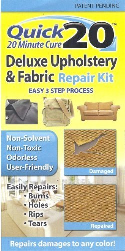 Quick 20 Deluxe Upholstery & Fabric Repair Kit Easily repairs burns, holes, rips, tears. Use on couches, sofas, loveseats, carpet, chairs, car seats, rugs. Great for pet damages. by Invisible