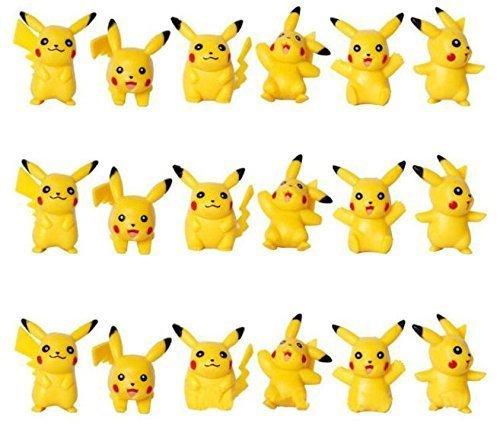 ToysoutleUSA Pokemon Pikachu Cake Topper | 18 pcs | Mini Toy Figures for Cupcake Decorations | 24 Bonus Stickers