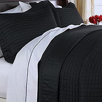 Modern Reversible Lightweight Solid Black Quilt Coverlet Set Twin/Twin XL  Size