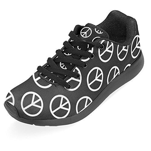 InterestPrint Womens Jogging Running Sneaker Lightweight Go Easy Walking Casual Comfort Sports Running Shoes Hippie Peace Signs Multi 1 DJ6vZ