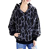COOKI Women's Winter Long Sleeve Leopard Printed Zipper up Hooded Jacket Casual Outwear Sweatshirt Hoodie Coat