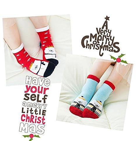 Calze Cusfull 4 Paia di Calzini Elasticit/à per Bambini di Santa Calzino Unisex in Cotone per Regalo di Natale 1-8 anni