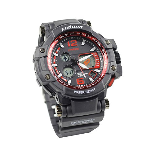 FODONG Men's Fashion Sport Watches Double Display Water Resistant Sports Watch Quartz Movement Digital Watch with Adjustable Band Black Red