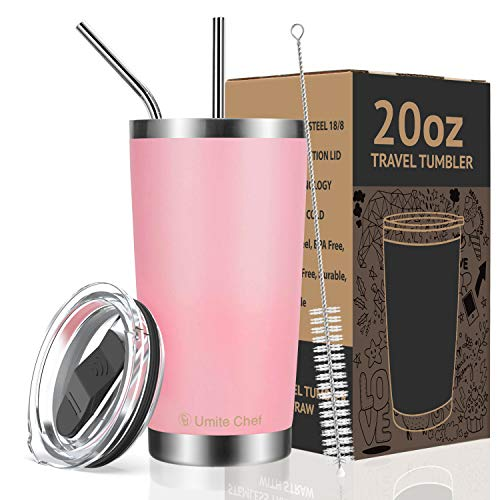 Umite Chef 20oz Tumbler Double Wall Stainless Steel Vacuum Insulated Travel Mug with Lid, Insulated Coffee Cup, 2 Straws, for Home, Outdoor, Office, School, Ice Drink, Hot Beverage (20 oz, Pink)