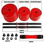 CCLIFE-Set-di-2-manubri-corti-e-regolabili-2-in-1-da-20-30-e-40-kg-con-tubo-di-collegamento-in-acciaio-Con-tubo-di-collegamento-2-x-10-kg-rosso