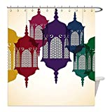 Liguo88 Custom Waterproof Bathroom Shower Curtain Polyester Lantern Decor Collection Antique Colorful Arabian Lantern Hang on Sky Traditional Islamic Art Design Purple Red Yellow Green Decorative bat