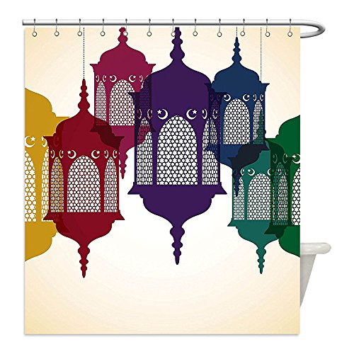 Liguo88 Custom Waterproof Bathroom Shower Curtain Polyester Lantern Decor Collection Antique Colorful Arabian Lantern Hang on Sky Traditional Islamic Art Design Purple Red Yellow Green Decorative bat by liguo88