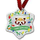 Personalized Name Christmas Ornament, Low Poly zoo Animals Red Panda NEONBLOND