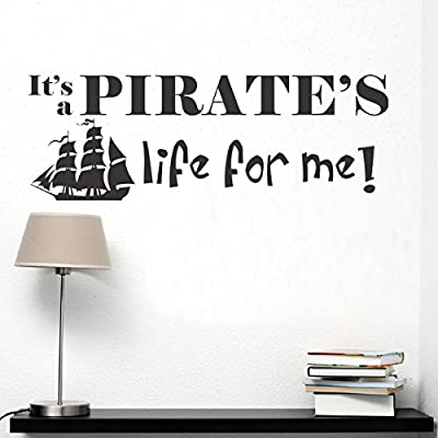 Nursery Wall Decal Vinyl Baby Boy Quote Pirate Wall Sticker Nutical Wall Graphic Children Room Art Decor Black: Home & Kitchen