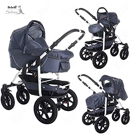 Bebebi | modelo Sidney | Ruedas de goma dura en negro | 3 en 1 Cochecito de niño y silla de paseo - Shark Bay: Amazon.es: Bebé