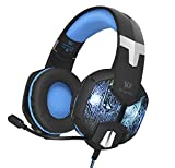 Maeffort Stereo PC Gaming Headset 7 Colors Breathing LED Light Over-ear Headphones with Microphone Inflected for Computer Games