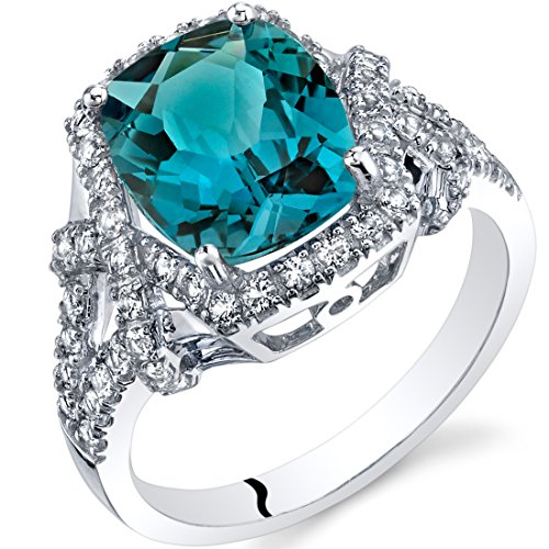 London Blue Topaz Cushion Cocktail Ring in 14K White Gold (3.50 carat)